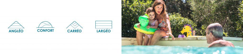 Personnalisez l'accès au bain de votre piscine Aquilus parmi nos 4 modèles.