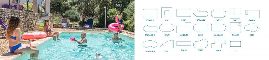 Découvrez tous nos modèles de piscines Aquilus. Déclinables à l'infini grâce à la Structure Steeltech Protec développé par la marque.